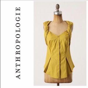 Anthro Odille Mustard Yellow Sleeveless Blouse